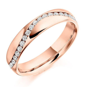 18K Rose Gold Half Eternity Offset Ring 0.30 CTW - Pobjoy Diamonds