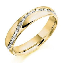 Load image into Gallery viewer, 18K Yellow Gold Half Eternity Offset Ring 0.30 CTW - Pobjoy Diamonds