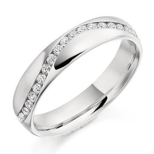 18K White Gold Full Eternity Offset Ring 0.60 CTW - Pobjoy Diamonds