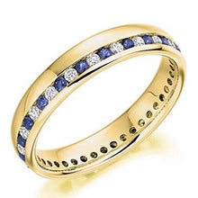Load image into Gallery viewer, 18K Yellow Gold Channel Set Blue Sapphire & Diamond Full Eternity Ring 0.57 CTW - Pobjoy Diamonds