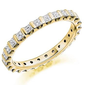 18K Yellow Gold Full Eternity Ring Princess Cut 1.00 CTW - Pobjoy Diamonds