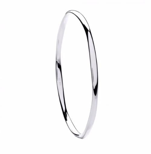 Faceted SIlver Ladies Bangle - Pobjoy Diamonds