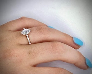 Marquise Cut 0.60 CTW Halo Diamond Engagement Ring D/VS-Santorini
