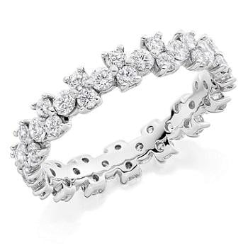 18K white gold 1.50 CTW brilliant round cut diamond full eternity patterned ring