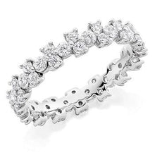 Load image into Gallery viewer, 950 platinum 1.50 CTW brilliant round cut diamond full eternity patterned ring