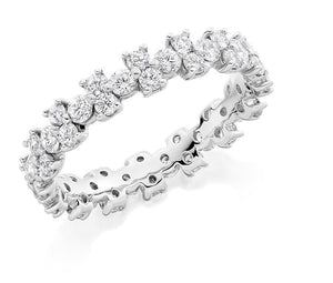 950 Platinum 1.50 CTW Round Cut Diamond Full Eternity Ring - Pobjoy Diamonds