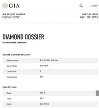 Load image into Gallery viewer, 18K White Gold 0.50 Carat Princess Cut Solitaire Diamond Ring F/VS2 - Casablanca