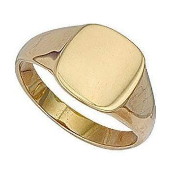 Gents 9K Yellow Gold Square Signet Ring - Pobjoy Diamonds