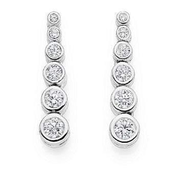 18K gold graduated 1.20 carat total weight diamond drop ladies earrings