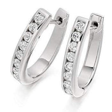 Load image into Gallery viewer, Gold & Princess Cut 0.55 CTW  Diamond Hoop Earrings - Pobjoy Diamonds