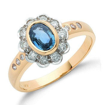 18K Yellow Gold Diamond & Sapphire Ring 1.26 CTW