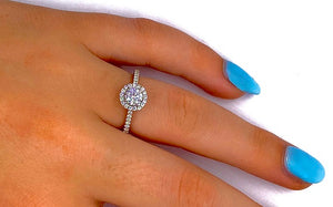 18K White Gold Round Brilliant Cut 1.40 Carat Diamond Halo - SAMPLE RING