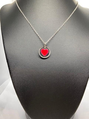 Pobjoy Heart 925 Silver & Red Coin Pendant & Neck Chain
