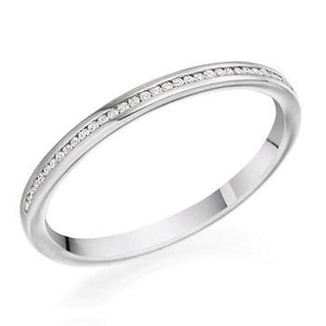 18K White Gold 0.07 CTW Diamond Half Eternity Ring - Pobjoy Diamonds