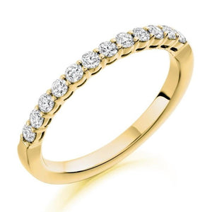 18K Yellow Gold Diamond Half Eternity Ring 0.50 CTW-Choice Of Grade - Pobjoy Diamonds
