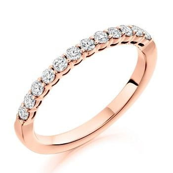 18K Rose Gold Diamond Half Eternity Ring 0.50 CTW-Choice Of Grade - Pobjoy Diamonds