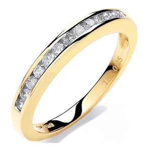 18K Yellow Gold 0.25 CTW Channel Set Half Eternity Ring