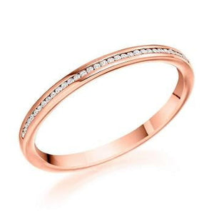 18K Rose Gold 0.07 CTW Diamond Half Eternity Ring - Pobjoy Diamonds