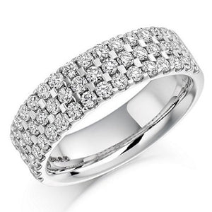 950 Platinum 1.05 CTW Three Row Half Eternity Ring G/Si