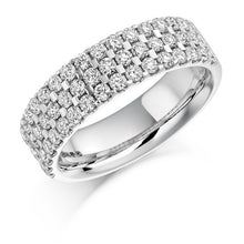 Load image into Gallery viewer, 18K White Gold 1.05 CTW Three Row Half Eternity Ring G/Si