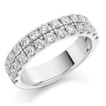 Load image into Gallery viewer, 950 Palladium 1.25 CTW Twin Row Diamond Half Eternity Ring - Pobjoy Diamonds