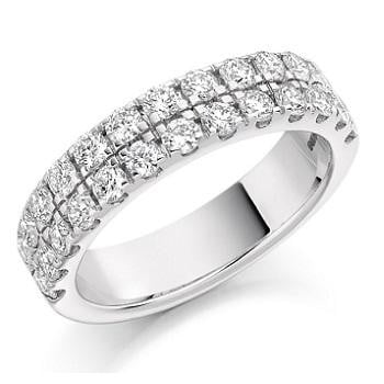 950 Platinum 1.25 CTW Twin Row Diamond Half Eternity Ring - Pobjoy Diamonds