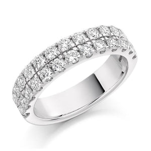 950 Palladium 1.25 CTW Twin Row Diamond Half Eternity Ring - Pobjoy Diamonds