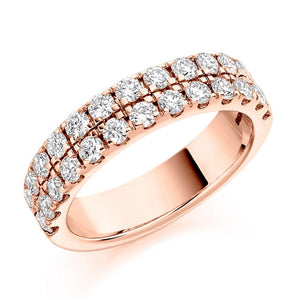 18K Rose Gold 1.25 CTW Twin Row Diamond Half Eternity Ring