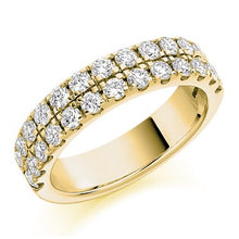 Load image into Gallery viewer, 18K Yellow Gold 1.25 CTW Twin Row Diamond Half Eternity Ring