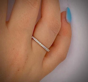 950 Palladium Half Eternity Ring Micro Claw Set 0.25 CTW - Pobjoy Diamonds