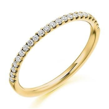 18K Yellow Gold Half Eternity Ring Micro Claw Set 0.25 CTW - Pobjoy Diamonds