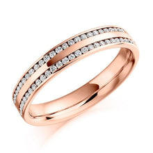 Load image into Gallery viewer, 18K Rose Gold Twin Row 0.26 CTW Diamond Half Eternity Ring - Pobjoy Diamonds
