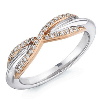 18K White & Rose Gold Shaped Half Eternity Ring 0.15 CTW