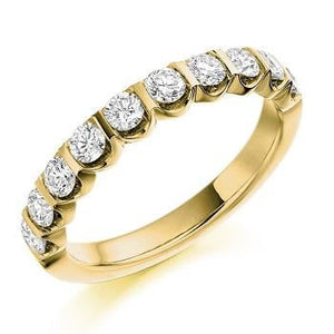 18K Yellow Gold 0.75 CTW Diamond Half Eternity Ring From Pobjoy