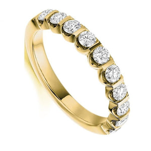 18K Yellow Gold 0.75 CTW Diamond Half Eternity Ring - Pobjoy Diamonds