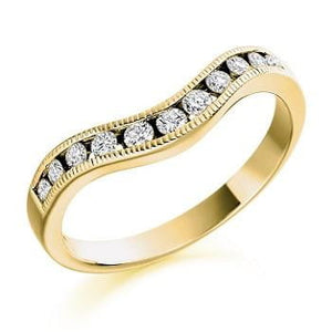 18K Yellow Gold Cutaway Half Eternity Ring-0.27 CTW - Pobjoy Diamonds