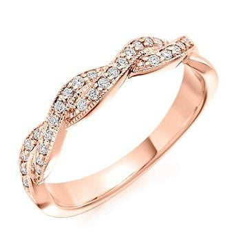 18K Rose Gold Entwined 0.22 CTW Diamond Half Eternity Ring - Pobjoy Diamonds