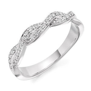 18K White Gold Entwined 0.22 CTW Diamond Half Eternity Ring - Pobjoy Diamonds