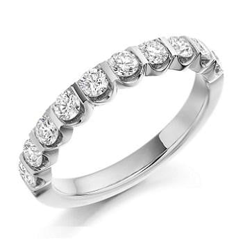 Platinum Half Eternity Diamond Ring 0.75 Carat Weight From Pobjoy