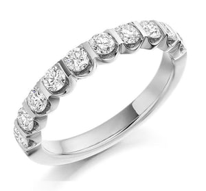 950 Platinum Half Eternity Ring 0.75 CTW F/VS - Pobjoy Diamonds