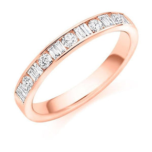 18K Rose Gold Round & Baguette Cut Diamond Half Eternity Ring 0.50 CTW - Pobjoy Diamonds