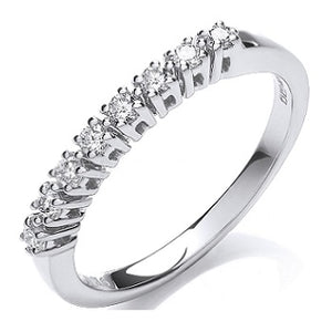 9K White Gold Diamond Half Eternity Ring 0.20 CTW