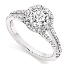 Load image into Gallery viewer, 18K White Gold Diamond Halo & Shoulders Engagement Ring 1.35 CTW - Trapani F-VS1 - Pobjoy Diamonds