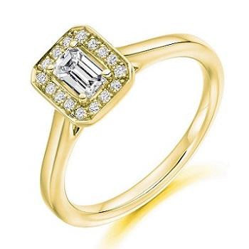 18K Gold Emerald Cut Diamond & Halo Engagement Ring 0.45 CTW - Vipiteno - Pobjoy Diamonds