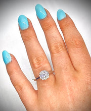 Load image into Gallery viewer, 950 Platinum 0.85 CTW Halo Diamond Ring