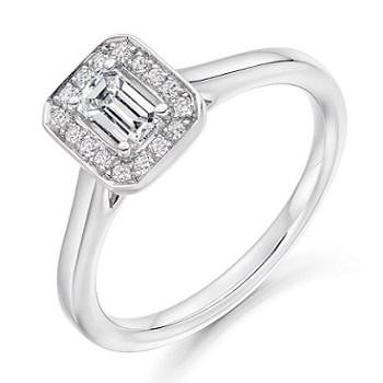 18K White Gold Emerald Cut Diamond & Halo Engagement Ring 0.45 CTW - Vipiteno - Pobjoy Diamonds