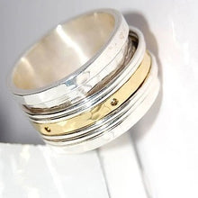 Load image into Gallery viewer, Handmade Sterling Silver & Brass Spinning Ring
