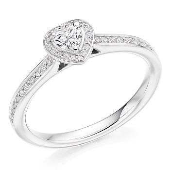 18K Gold Heart Shape & Diamond Set Ring 0.60 CTW - G/VS2 - Pobjoy Diamonds