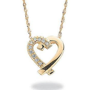 9K Yellow Gold And Round Cut Diamond Ladies Heart Silhouette Pendant With 9K Yellow Gold Chain From Pobjoy