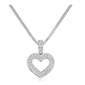 18K Gold & Diamond Grain Set Heart Pendant 0.30 CTW Pobjoy